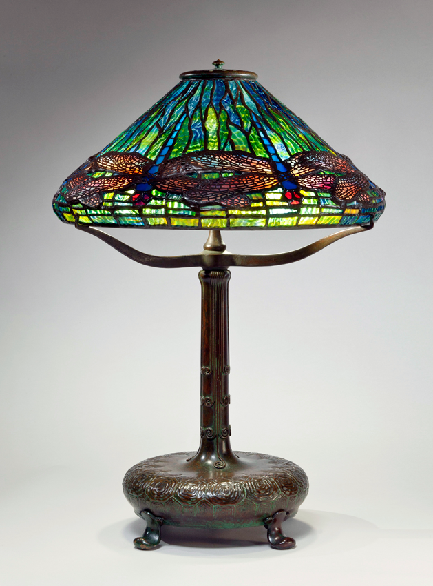 Tiffany Studios, New York, Clara Driscoll (1861-1944), designer, Dragonfly Reading Lamp, ca. 1899, Leaded glass with brass filigree, bronze, H. 25 ½ in.; Diam. 16 in. N.86.C.2a; N.86.GL.5b; N.86.IL.9c. The Neustadt Collection of Tiffany Glass