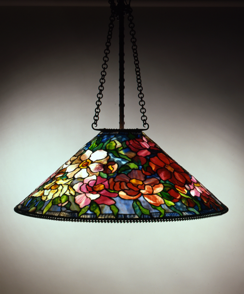 Tiffany Studios, New York, Peony Hanging Shade, ca. 1905, Leaded glass, bronze, H. 50 in.; Diam. 28 in. Reproduction hanging hardware, N86.C.16, The Neustadt Collection of Tiffany Glass