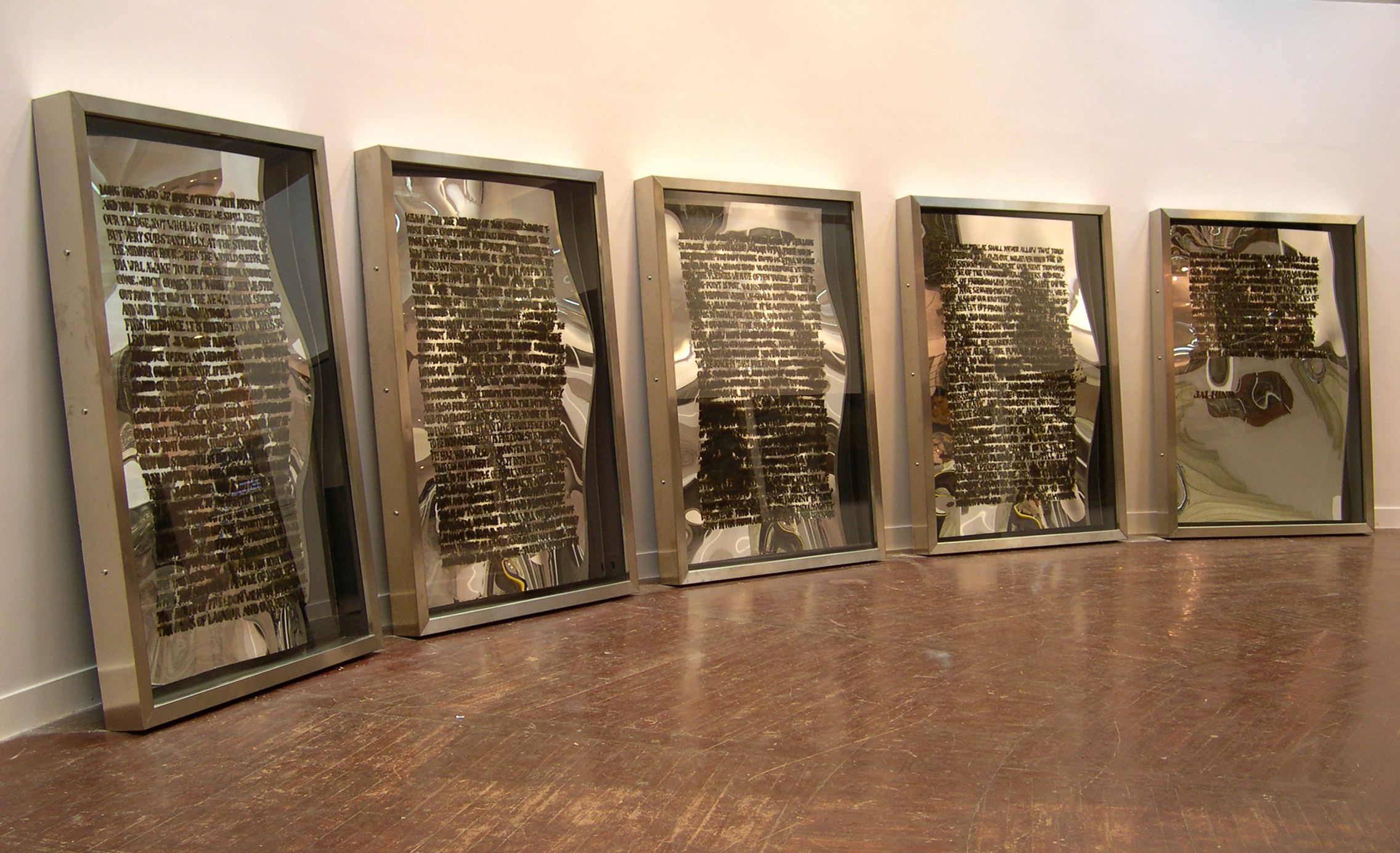 Artist: Jitish Kallat Title: Public Notice Date: 2003 Medium: Burnt adhesive on acrylic mirror, wood and stainless steel Size: 5 parts, 78 x 54 x 6 in. each (198.1 x 137.1 x 15.2 cm each) Credit: Shumita and Arani Bose Collection, NewYork