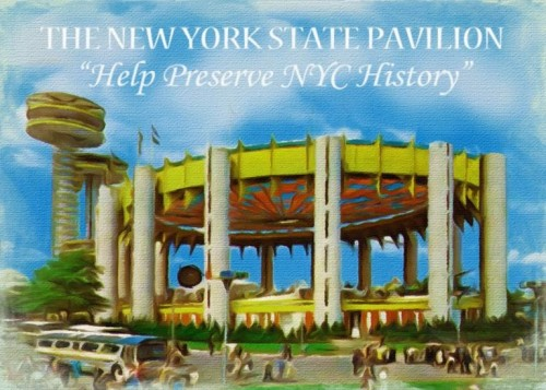 Preservation campaign painting by Doug Leblang of the NYS Pavilion at the 1964 World's Fair