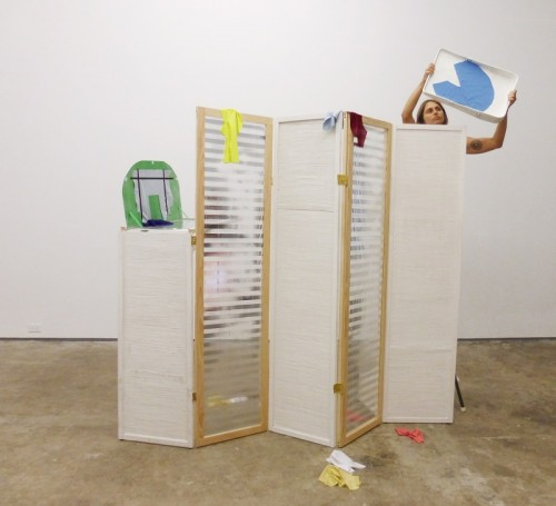 Alina Tenser, Selections from Sports Closet, 2015. Performance set (steel, wood, wicker, mylar, fabric, epoxy modeling clay). Courtesy the artist