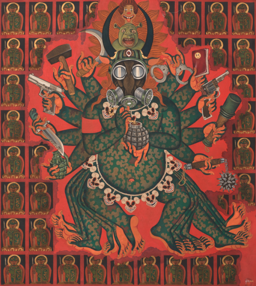 "GADE, Mahakala, 2013, Acrylic and oil on canvas, 60¼"" x 55"". Artist lives and works in Lhasa, Tibet."