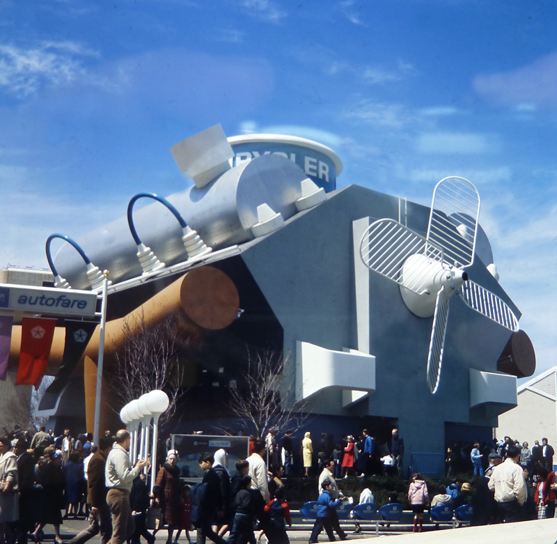 Van Williams, Giant Engine at the Chrysler Pavilion, 1964. Color glass slide. Collection of the Queens Museum, gift of Jerry Kean