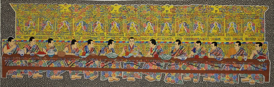 "Tulku Jamyang, (b. Kathmandu, 1977). The Last Supper, 2014, 28"" x 74"", Shelley and Donald Rubin Private Collection."