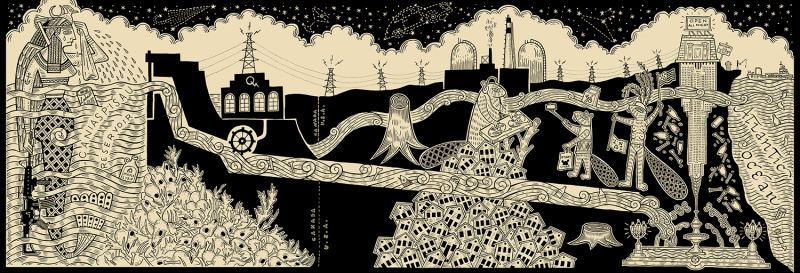 Duke Riley, That's What She Said (detail), 2016. UV-direct print on canvas from the original pen and ink drawing, 44ft x 14ft. Courtesy the artist