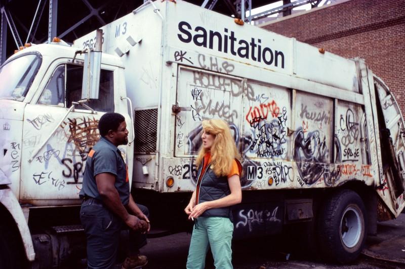 Mierle Laderman UKELES Touch Sanitation Performance: Fresh Kills Landfill, 1977-80 Talking with worker of the New York City Department of Sanitation Courtesy Ronald Feldman Fine Arts, New York